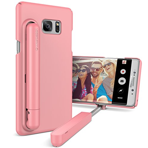 URCOVER Custodia Bastone Selfie Stick VRS Design per Apple iPhone 7 Plus | Cover per Foto con Asta Telescopica Integrata in Fucsia