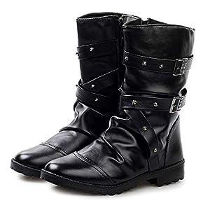 [Formanism] カジュアル エンジニア ライダース スタッズ メンズ ブーツ (黒40(25.0㎝))