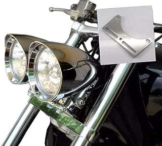 Motorcycle Bottom Mount Dual Headlight Head Light Bracket for Harley Honda Kawasaki Honda Suzuki Cruiser Chopper (Chrome)