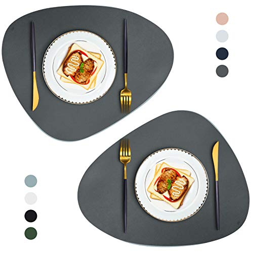 JTX Placemats Set of 2 Round Leather Placemats for Dining Table Heat-Resistant Non-Slip Washable Insulation Coffee Mats Kitchen Place Mats Nordic Style Placemats (Dark Grey)