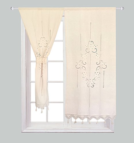 ZHH Handmade Cotton Linen Crochet Lace Curtain Hollow Flower Curtain 27 by 59-Inch(One Piece), Beige