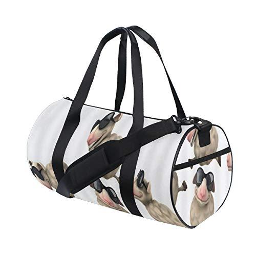 ZOMOY Sporttasche,Cartoon Schafe kühl mit Sonnenbrille Sprung Frosch,Neue Bedruckte Eimer Sporttasche Fitness Taschen Reisetasche Gepäck Leinwand Handtasche