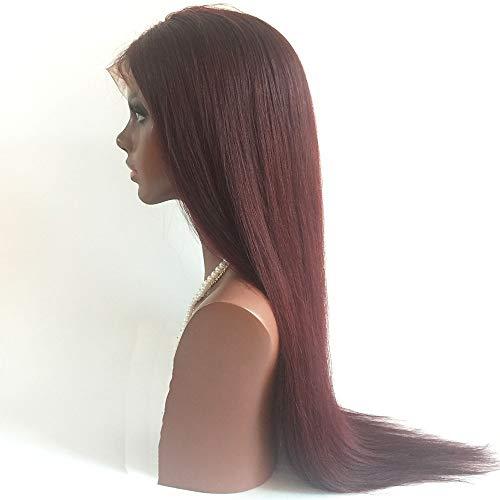 Remy-Echthaar-Lacefront-Perücke, Stufenschnitt, brasilianisches Haar, glatt, 130% Dichte mit Babyhaar, natürlicher Ansatz, mittellang, burgunderfarben