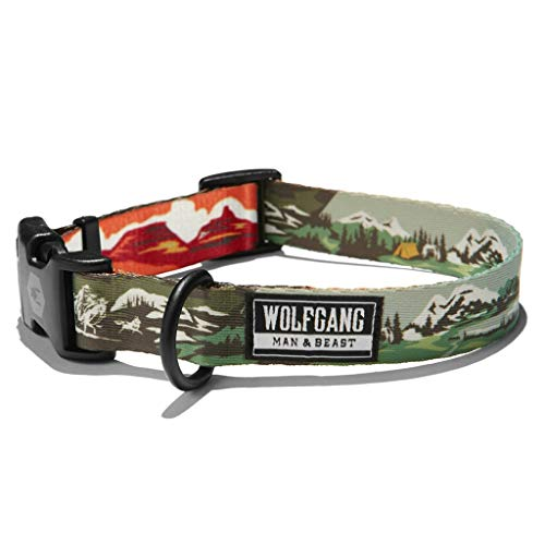 Wolfgang Man & Beast Premium USA Webbing Dog Collar for Small Medium Large Dogs, OldFrontier Print, Large (1 Inch x 18-26 Inch)