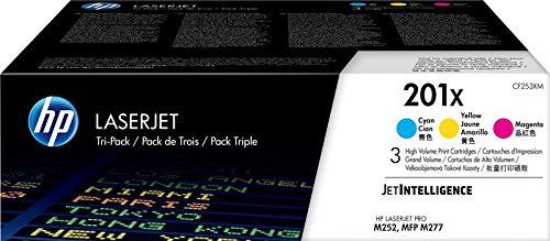HP 201X CF253XM, Cian, Magenta y Amarillo, Cartuchos Tóner Original, Pack de 3, para impresoras HP Color LaserJet Pro serie 252, 274 y 277