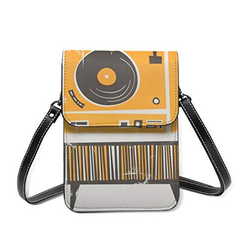 Handy-Geldbörse, Vinyl-Deck, kleine Umhängetasche, Mini-Handytasche, Reisepass-Geldbörse mit verstellbarem Schultergurt