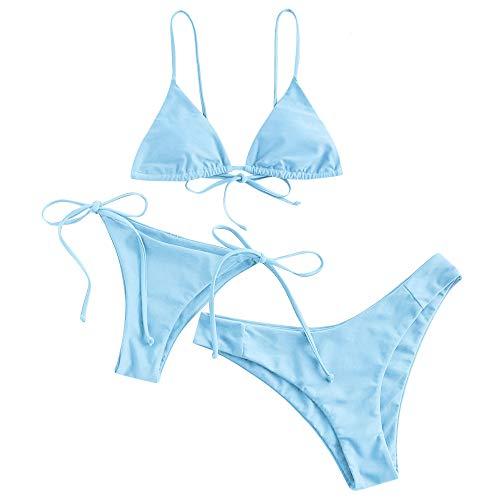 ZAFUL Damen Gepolstert Spaghetti-Träger 3 Pieces Bikini Beachwear (Hellblau-1, M)