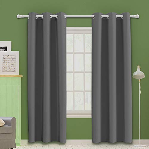 MOOORE Grey Bedroom Blackout Curtains, Thermal Insulated Top Eyelet Grommet Darkening Window Decoration Drapes for Room | Living Room | Kitchen | Nursery 42 X 63 Inch Drop Grey 2 Panels