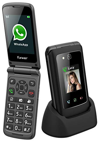 Funker C135I Comfort Pro - Telefono Móvil, Whatssapp, 3G, Pantalla Táctil con GPS y Botón SOS, Facil De Usar y Multimedia (Negro)