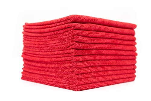 The Rag Company - All-Purpose Microfiber Terry Cleaning Towels - Commercial Grade, Highly Absorbent, Lint-Free, Streak-Free, Kitchens, Bathrooms, Offices, 300gsm, 16in x 16in, Red (12-Pack)