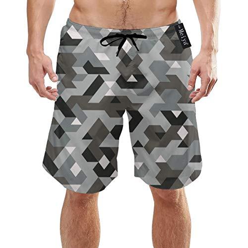 Camouflage Style Pixel Herren Badehose Quick Dry Beach Shorts mit Taschen M.