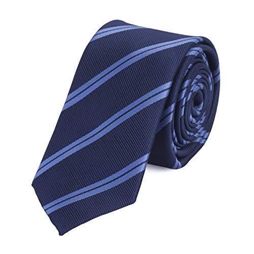 Fabio Farini – Herren Krawatte elegant gestreift für Hochzeit, Konfirmation, Ball in 6 cm oder 8 cm zur Auswahl marineblau dunkelblau tiefblau Schmal (6cm)