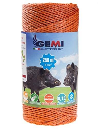 Gemi Elettronica Hilo Conductor Redondo para Pastor eléctrico Cerca eléctrica 250 MT 6 mm² Valla eléctrica Valla electrificada para animales jabalí vacas caballos perros cerdos gallinas zorros