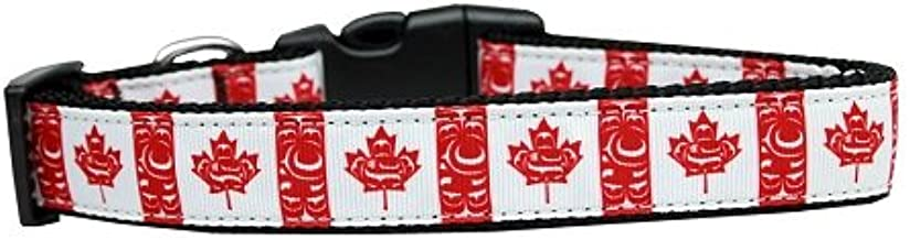 Mirage Pet Products Canadian Flag in Swirls Nylon Dog Collar SM