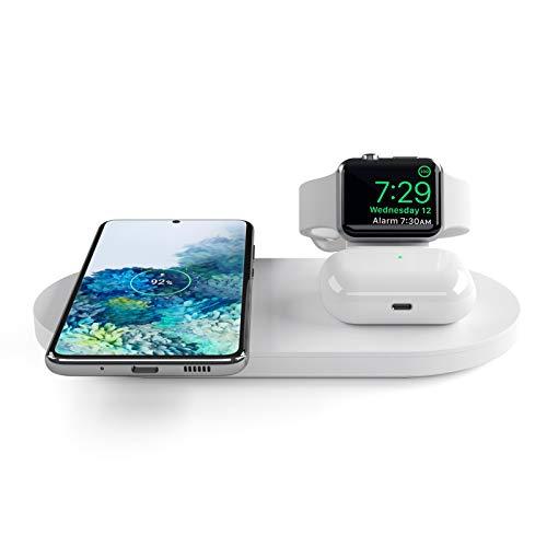 Seacosmo Caricatore Wireless 3 in 1 per Apple Watch 5/4/3/2/1, Qi Supporto di Ricarica Wireless Docking Station per AirPods Samsung Buds, iPhone SE 2020/11/XR/X/8, Samsung Galaxy e telefoni qi, Bianco