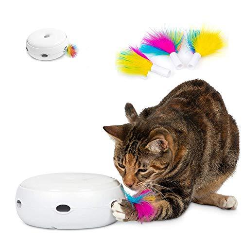 TOPofly Teaser Cat Interactive Toy Intelligente Kitten Toy Intelligente Modes Lighttime Lumière Blanche avec 3pcs Remplacement Plumes (Piles Non Comprises)