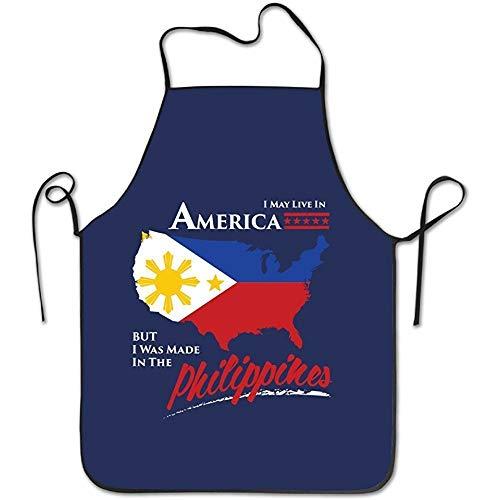 Seiobax Ich kann in Amerika Leben, Aber ich wurde in den Philippinen hergestellt. Schürzen Chef Personalized Kitchen Aprons Blue Apron