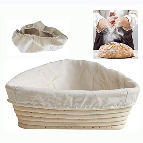 Driehoek Brood Proofing Mand Fermentatie Banneton Brotform Met Voering Natuurlijke Rotan Voor Het Bakken Van Brood En Zuurdesem,20 * 20 * 6cm