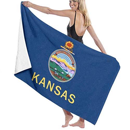 Toalla de playa de microfibra - Bandera del estado de Kansas KS, gran secado rápido, súper absorbente, sin arena, toalla de baño / piscina para nadar, ducha, viaje, gimnasio, yoga, camping, 130x80cm