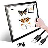 Tablero de copia LED, caja de luz superfina, almohadilla de dibujo, mesa de trazado, cable USB con brillo ajustable para artistas, animación, dibujo, animación, visualización de rayos X (A3-S-balck)