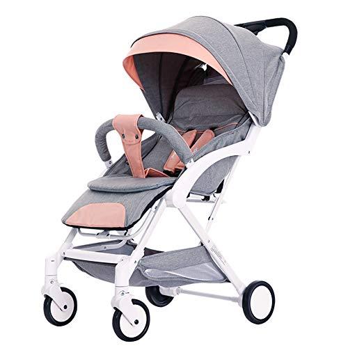 GH&YY Kinderwagen Babywagen Kombikinderwagen 0-3 Jahre 15 Kg Insektenschutz Netz Regenschutz Getränkehalter Buggy Autositz,Pink