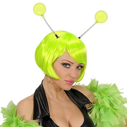 Amakando Toller Haarreifen Marsmensch Glow in The Dark / Neongrün / Kopfschmuck Außerirdischer mit Alien-Fühlern / Genau richtig zu Fasching & Mottoparty
