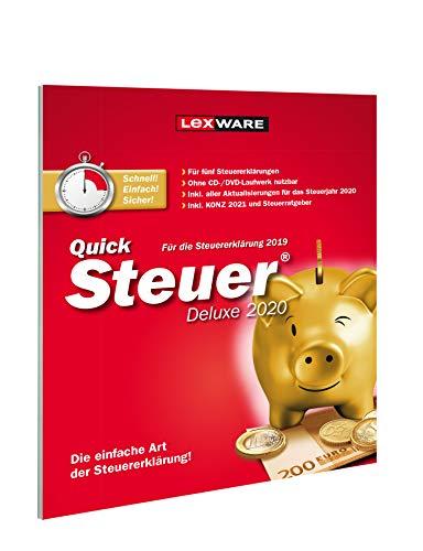 Lexware QuickSteuer Deluxe 2021 für das Steuerjahr 2020|Einfache und schnelle Steuer-Software für die private und gewerbliche Steuererklärung|Deluxe|1|1 Jahr|PC|Disc
