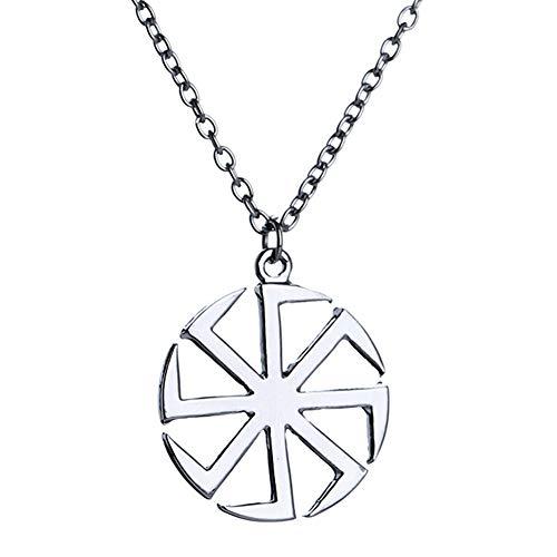 Collar con colgante religioso con amuleto de Kolovrat eslavo