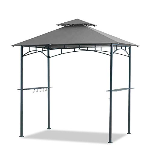 Warmally 5'x8' Grill Gazebo Double Tiered Canopy Outdoor Patio BBQ Tent and Steel Frame with Two...