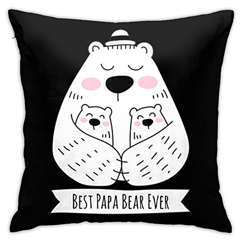 Loretta Mcdaniel Best Bear Papa Ever2 Kids Hypoallergenic Throw Pillow Insert Sham Cushion Cover Square Pillowcase18 inches