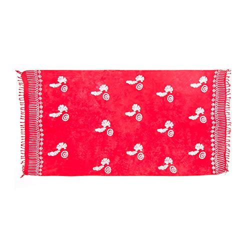 MANUMAR Damen Pareo blickdicht, Sarong Strandtuch in rot mit Muschel Motiv, 155x115cm, Handtuch Sommer Kleid im Hippie Look, Sauna Hamam Lunghi Bikini Coverup Strandkleid