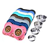 Vivaglory Dog Bowls, Set of 2, Stainless Steel Water and Food Bowl Pet Puppy Cat Feeder with No…