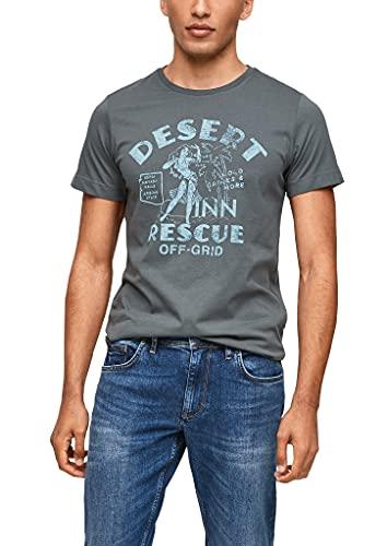 s.Oliver Herren Jerseyshirt mit Schriftprint grey S