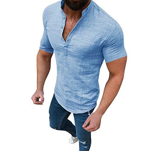 Herren Leinen Hemd V-Ausschnitt Langarmshirt Einfarbig Kurzarmshirt Vintage mit Knopfleiste Shirt Business Freizeithemd Muscle T-Shirt Sport Fitness Training Hochzeit Shirt Tops Bluse