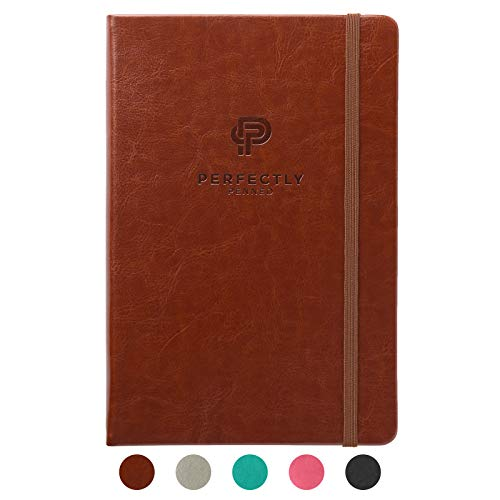 Perfectly Penned - 256 Pagine Extra Spesse, puntinato 5 mm, 120 gsm, A5 (21 x 14 cm), Marrone Pelle PU, Taccuino con copertina rigida in Confezione Regalo