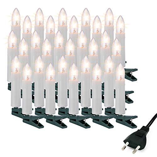 Hellum Christbaumbeleuchtung innen, 30x Riffel-Kerzen weiß mit Wachstropfen Schaft, Weihnachtsbaum Lichterkette mit grünem Kabel, Fassungsabstand 40 cm, inkl. Ersatzlämpchen 613018
