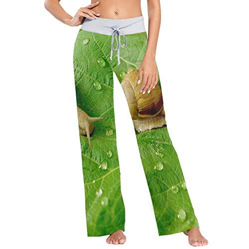 Pantalones de Pijama para Mujer, Pantalones de Yoga, Leggings Inferiores, Pantalones de salón de Cintura Alta, Caracol y Gotas de Agua sobre Hojas Verdes
