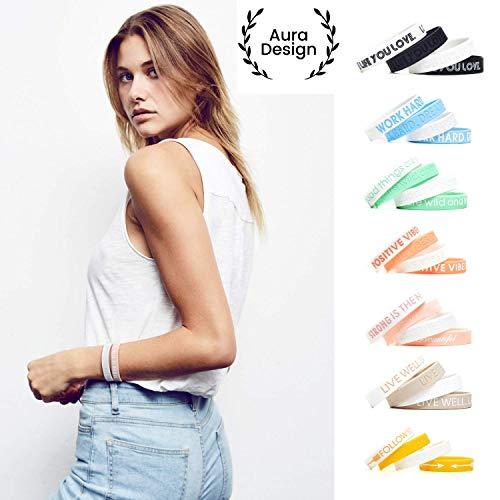 Aura Design Damen-Armband | Bubblegum-Pink | Strong is The New Beautiful | Silikonarmband | Sportarmband | Fitness-Armband | Armband für Damen | 4 Armbänder