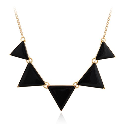 Jane Stone Fashion Black Bib Necklace Triangle Statement Simple Necklace (Fn0568-Black)