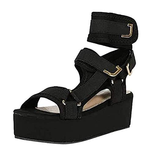 Heeled-Sandals Mujer,Sandalias Mujer Verano 2021 Cáñamo Fondo Grueso Sandalias Punta Abierta Sandalias con Plataforma y Tiras Mujer