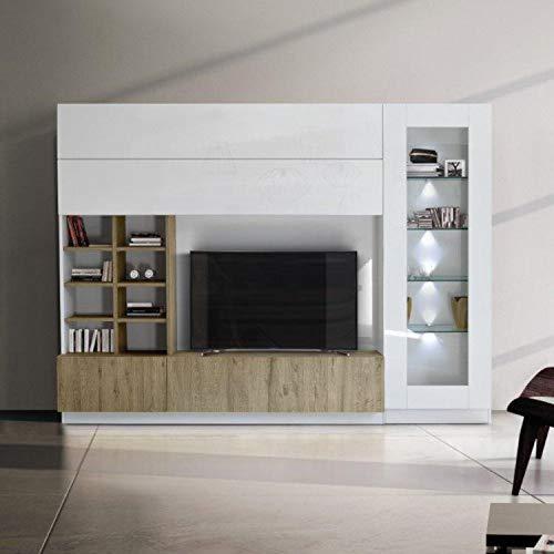 arredocasagmb.it Parete attrezzata Porta TV Bianco Lucido Moderno Legno Rovere Miele Essenza vetrina Sky