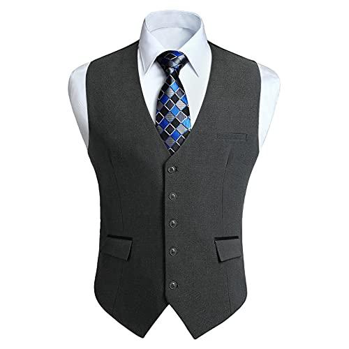 HISDERN Chalecos Gris oscuro para Hombre de Vestir Formal Chaleco de Boda Clásico chaleco traje de Negocios fiesta Casual con Bolsillos XL