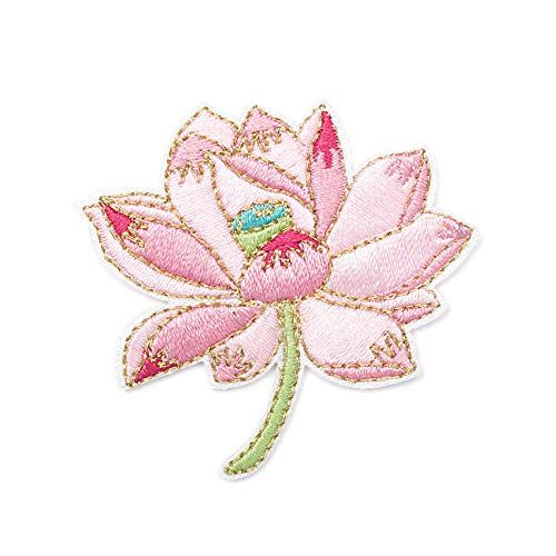 Patches zum Aufbügeln Blume Buegelbilder Bestickte Patches Sticker Gestickte Aufnäher Applikation für DIY Kleidung Jeans T-Shirt Jacken Rucksäcke (Lotusblume)