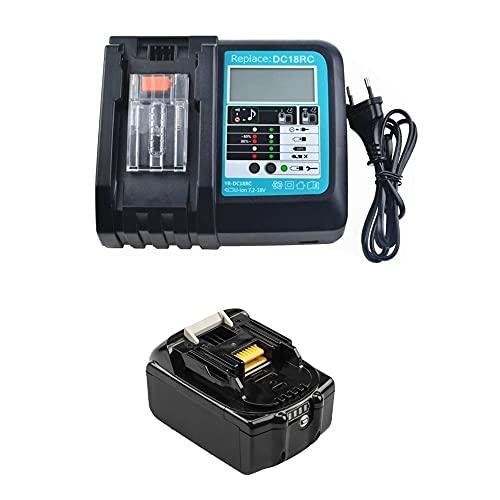 Batteria di ricambio 18 V 5.0 Ah con caricatore DC18RC con LED per radio da cantiere Makita DMR112 DMR110 DMR115 DMR114 DMR107 DMR108 DMR109 DMR106 18 Volt