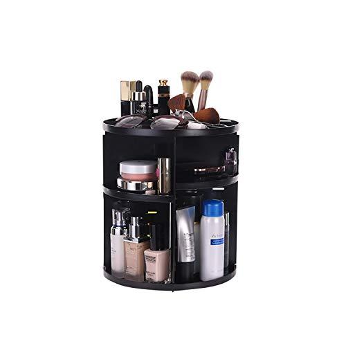 SUQ Roterende Make-up Organisator, 360°Draaien Instelbare Verstelbare Carrousel Opslag Voor Cosmetica, Toiletten, En Meer Voor Ijdelheid, Slaapkamer, Keuken, Kast, Badkamer (zwart)