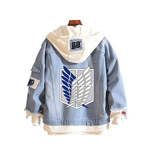 Attack on Titan AOT Anime Denim Jacket Hoodie Chaqueta, Adulto, Cosplay Ripped Chaqueta de Jeans turquesa M