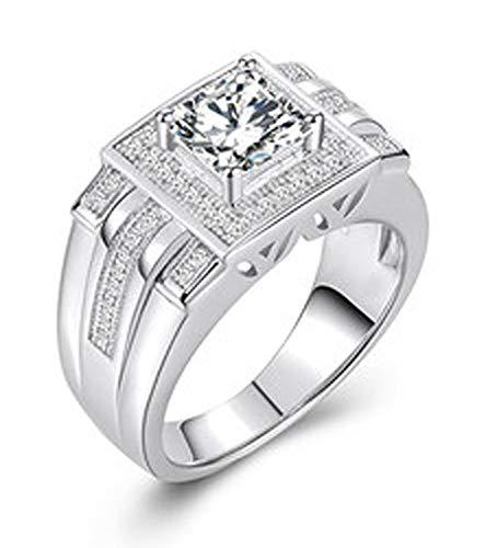 RXSHOUSH Anillo de los Hombres, Pareja S925 imitación Anillo de Diamante Novio Lucky Regalo de la Manera Tendencia 15-24 Tamaño del Anillo 21#