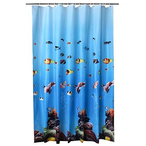 Badvorhang Beweis Bad Vorhang 180x200 CM Fisch Druck Duschvorhang Wasserdicht Polyester Mehltau Beständig PEVA Duschvorhänge Formbeständig Bad Vorhang mit Haken for Bad (180 * 200 CM) für Badezimmer