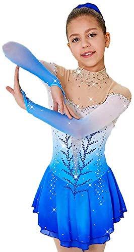 Kleid für Mädchen Eiskunstlauf Schlittschuhlaufen auf EIS Wettbewerb Kinderkostüm Tanz Leotards Rollen mit Kristallen Tunika mit Crystal Blue,XL
