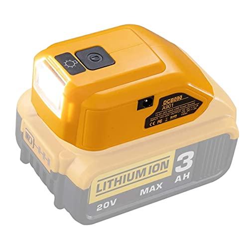 TPL DCB090 A901Battery Adapter for Compatible with Dewalt 14.4V18V 20V Lithium Batteries, Dual USB Charger/DC Port/LED Work Light, Flashlight, Flood Light,Power Source,HomeTool Converter Cordless